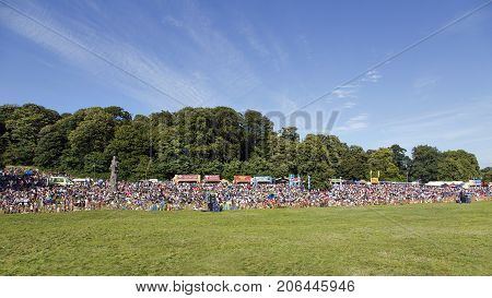 Bristol, Somerset, UK: August 13, 2016: Spectators at the Bristol International Balloon Fiesta. The annual event has become Europe's largest hot air balloon festival.