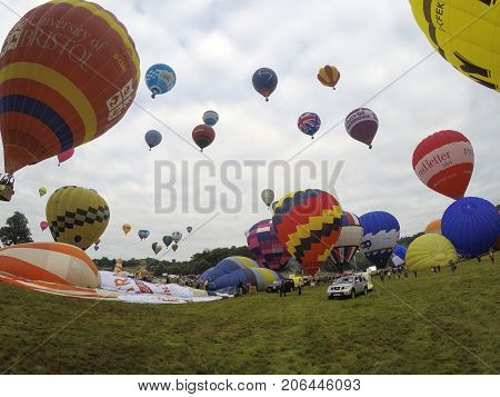 Bristol, UK: August 14, 2016: Flying the balloons at the Bristol International Balloon Fiesta. The annual event has become Europe's largest hot air balloon festival