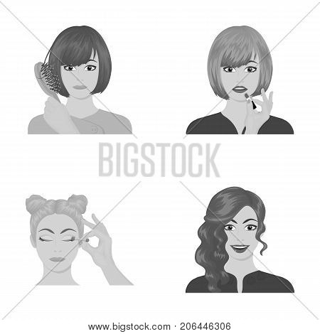 Hairdresser, cosmetic, salon, and other  icon in monochrome style.Means, hygiene, care icons in set collection.