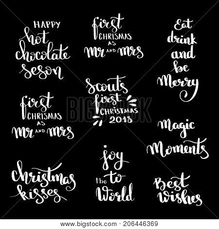 Christmas Hand Drawn Lettering Design Set. Handwritten Christmas Quotes And Wishes Modern Calligraph