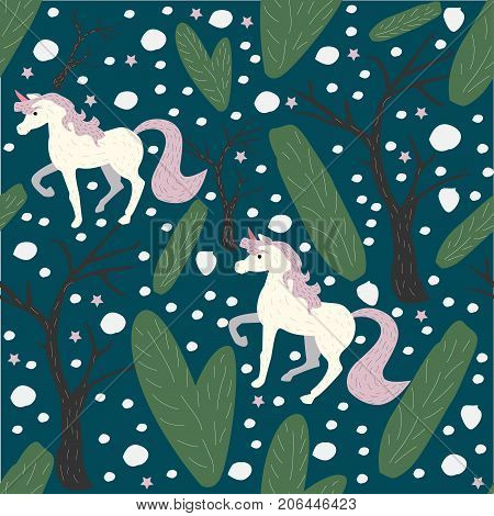 Unicorn Seamless Pattern. Green Background with spruce fir and trees.Unicorn Seamless Pattern. Winter. Unicorns spruce fir trees.Vector Illustration. Winter/Merry Christmas Collection.Modern Design