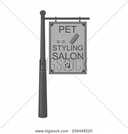 Stylish salon for a pet, a sign on a street post, Pet care single icon in monochromt style vector symbol stock illustration .