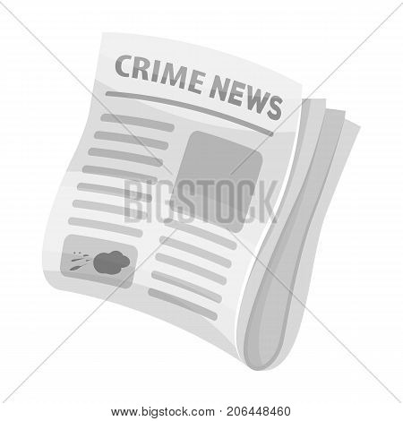 Newspaper crime news.Crime article in the press single icon in monochrome style vector symbol stock illustration .