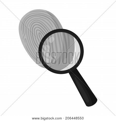 Investigation by fingerprint magnifier, crime. Loupe is a detective tool, single icon in monochrome style vector symbol stock illustration .