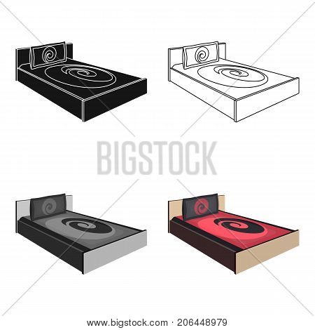 Bed with beautiful red patterns.Bed single icon in cartoon style vector symbol stock web illustration.