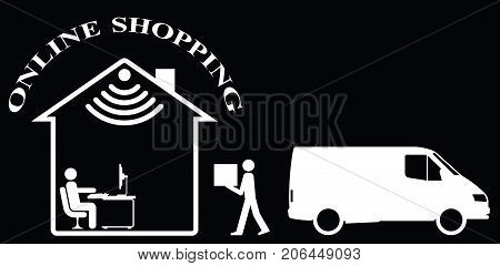 Representation of online shopping and home delivery isolated on black background  with copy space for own text