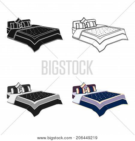 Men's bed with a blue bed and stars.Bed single icon in cartoon style vector symbol stock web illustration.