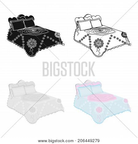King bed with white blanket.Queen bed with pink pillows.Bed single icon in cartoon style vector symbol stock web illustration.