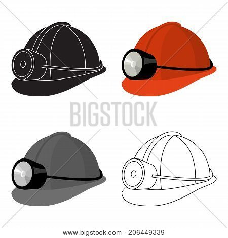 The helmet of a miner with a flashlight.Gear digger for protection from stones.Mine Industry single icon in cartoon style vector symbol stock web illustration.