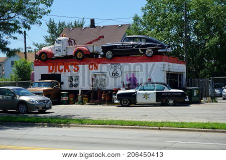 JOLIET, ILLINOIS / UNITED STATES - JULY 25, 2017: Dick's Towing on US Route 66 is a popular roadside tourist attraction on Broadway Street.