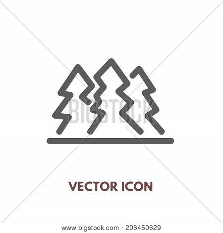 Vector doodle pine tree icon. Stock line symbol for design.