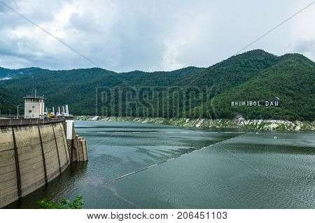 Bhumibol Dam The Big Concrete Dam in Tak Province September 28 2017 Tak Province. Thailand.