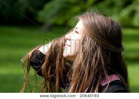 Bright Girl In Park