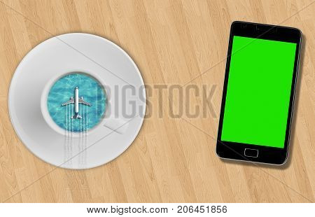 3D rendering blue sea ocean on sunny day into coffee cup and tourism airplane fly on it on wood table near smartphone with chroma key green screen abstract travel concept of time of relax holiday vacations