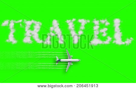 3D rendering travel concept written on chroma key green screen with tourism airplane fly near it holiday abstract travel concept of time of relax holiday vacations booking reservation