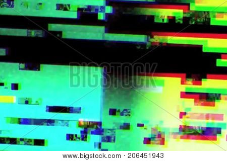 abstract realistic screen glitch flickering analog vintage TV signal with bad interference static noise background overlay ready