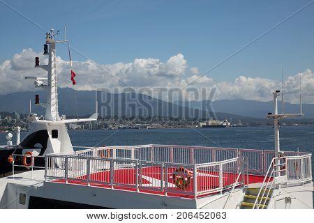 Concept travel ocean boat deck no people