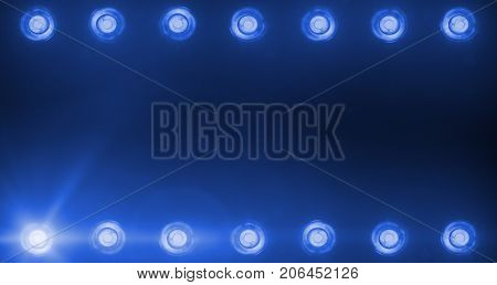 Frame Of Flashing Shiny Blue Stage Lights Entertainment Entertainment, Spotlight Projectors In The D