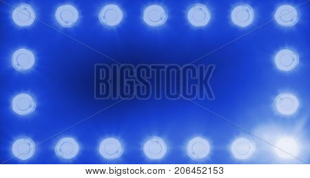 Frame Of Flashing Shiny Blue Stage Lights Entertainment, Spotlight Projectors In The Dark, Blue Soft