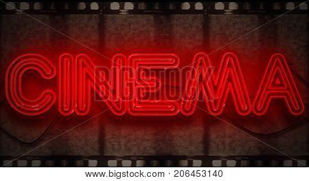 3D rendering flickering blinking red neon sign on film strip background cinema movie film entertainment sign concept