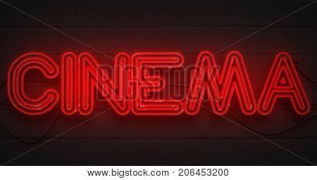 3D rendering flickering blinking red neon sign on dark brick background cinema movie film entertainment sign concept