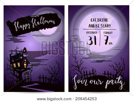 Halloween party invitation set with spooky castle on tree in mystic forest at night under full moon, vector illustration. Halloween design template with haunted house and lettering - Join our party.