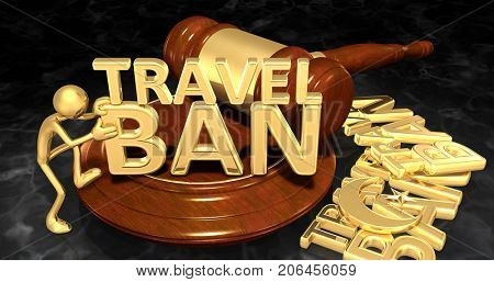 Law Concept Moving A New Travel Ban In With The Original 3D Character Illustration