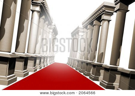 Red Carpet And Pillars