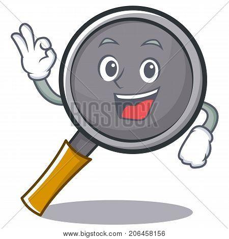 Okay frying pan cartoon character vector illustration
