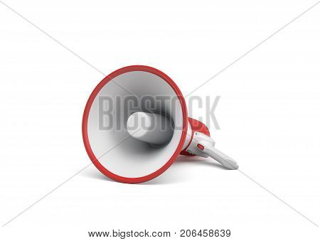 3d rendering of a single red and white megaphone lying in side view on white surface. Public speaking equipment. Spokesperson. Demonstrations.
