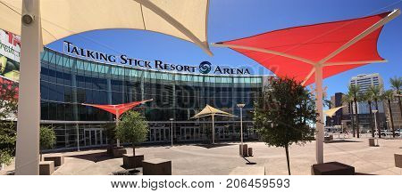 PHOENIX, AZ, USA - SEPTEMBER 28, 2017:  Talking Stick Resort Arena on Phoenix Downtown, Arizona
