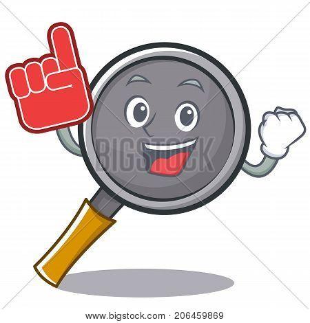 Foam finger frying pan cartoon character vector illustration