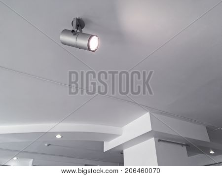 Exhibition Ceiling Light Fixtures. Bright Halogen Spotlights On Exhibition Ceiling.