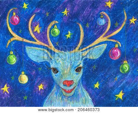 the christmas reindeer head with decorated antlers drawing by oil pastel, cartoon new year illustration