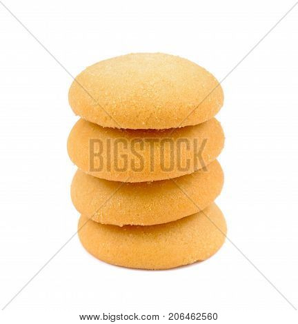 Stack of ginger biscuits butter cookies stack isolated on white background