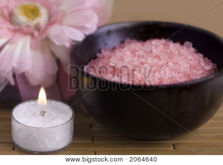 Bath Salts On Bamboo Mat With Candle