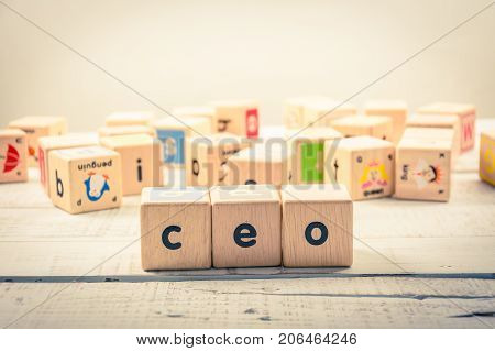Word ' ceo ' wood Cubic on the wood