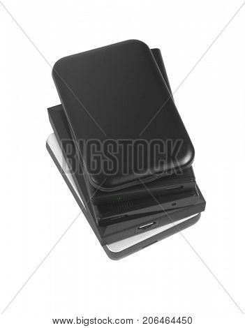 Stack of Computer External Hard Disks on White Background