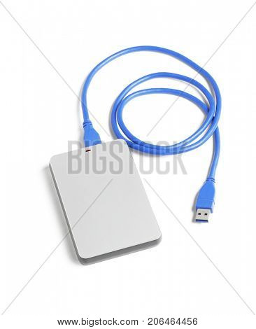 Computer External Hard Disk and USB Cable on White Background