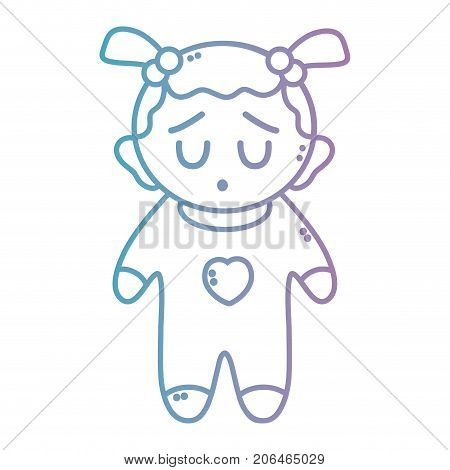 line nice baby girl with pijama and hairstyle vector illustration