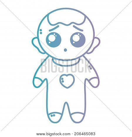 line nice baby boy with pijama and hairstyle vector illustration