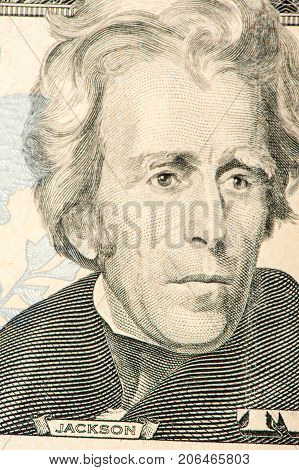 Andrew Jackson, portrait, 20 dollar bill close-up