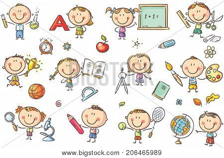 Happy doodle kids with school things like pencils books blackboard etc. No gradients used easy to print and edit. Vector files can be scaled to any size.