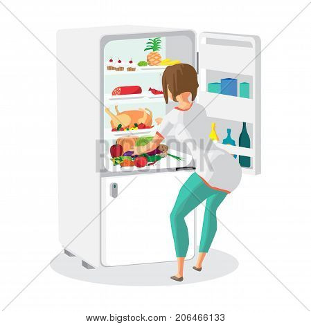 Young woman housewife takes out food from the refrigerator. Girl opens the fridge. Back view. Flat cartoon vector illustration