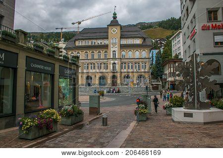 SANKT MORITZ, SWITZERLAND - SEPTEMBER 9, 2017: The historic center of Sank Moritz alpine city in Switzerland