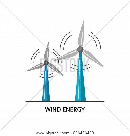 Wind turbine icon in flat style. Rotating windmill symbol isolated on white background. Alternative renewable energy source.