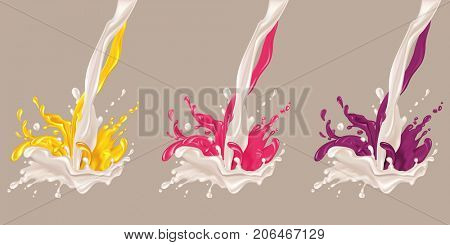 Milk and jam flow. Liquid is poured and mixed. Set of splashes of jam into milk, yogurt, white chocolate. Jam: yellow, raspberry and forest berries. The raster version.