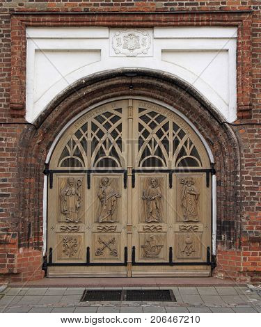 one of door to Basillica of St. Peter and Paul in Kaunas Lithuania