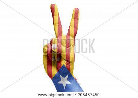 Catalan Flag Painted On Hand Celebrating Victory. Referendum