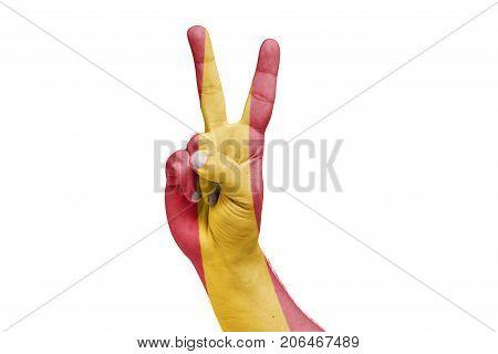 Spanish Flag Painted On Hand Celebrating Victory. Referendum